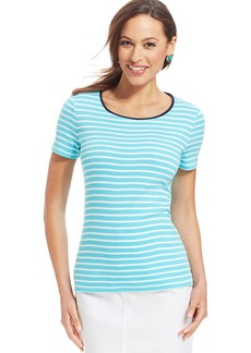 Charter Club Petite Short-Sleeve Contrast-Trim Striped Tee