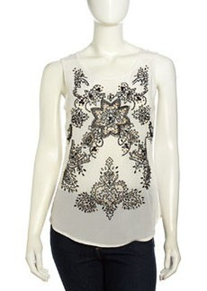 Nicole Miller Sleeveless Floral Beaded Chiffon Blouse, Ivory