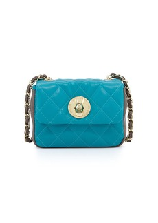 Moschino Borsa Quilted Faux-Leather Crossbody Bag, Turquoise/Taupe