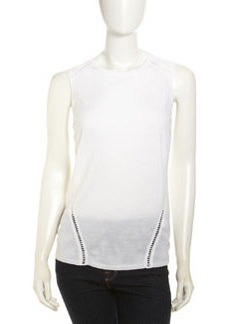 Lafayette 148 New York Crochet-Seam Tank, Cloud