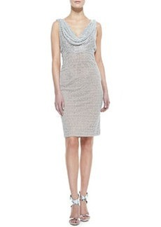 Carmen Marc Valvo Sleeveless Cowl & Beaded Neck Cocktail Dress, Silver