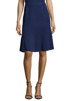 St. John Fit-and-Flare Knit Skirt, Ink