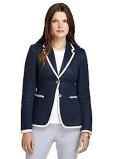Stellita Fit Two-Button Trimmed Linen Jacket