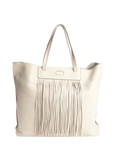 Tod's ivory leather fringe detail shoulder bag