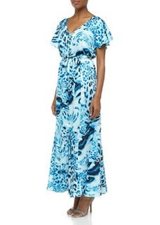 Laundry by Shelli Segal Ruffled Swirling Leopard Print Maxi Dress, Blue Beret