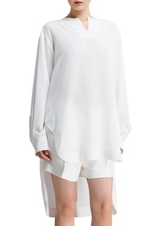 Chloe Long-Sleeve Silk Crepe de Chine Blouse, Milk