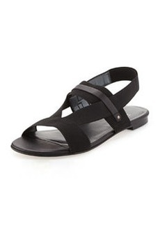 Here to Stay Stretch-Strap Sandal, Black   Here to Stay Stretch-Strap Sandal, Black
