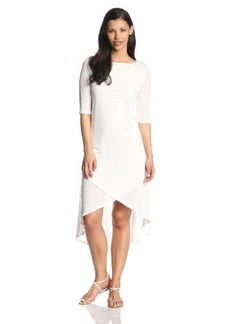Three Dots Women's 3/4 Sleeve Layered High Low Dress