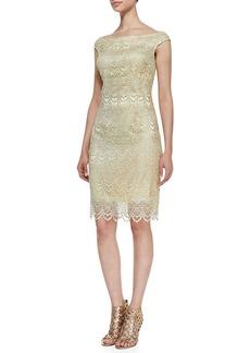 Kay Unger New York Off-Shoulder Lace Cocktail Dress, Butter