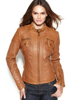 MICHAEL Michael Kors Petite Buckle-Collar Quilted Leather Jacket