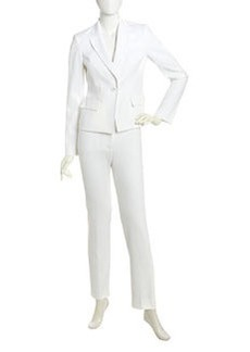 Albert Nipon Two-Piece Pique Knit Suit, Soft White