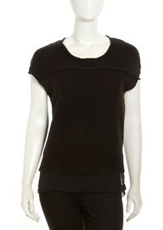 Robert Rodriguez Cap-Sleeve Sweater & Chiffon Top, Black