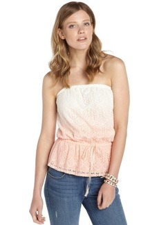 C & C California tropical peach and white stretch cotton ombre accent strapless top