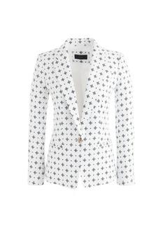 Collection linen blazer in diamond foulard