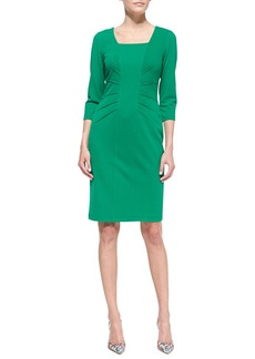 David Meister 3/4-Sleeve Crepe Sheath Dress, Emerald