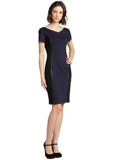 Elie Tahari midnight dream and black stretch 'Erica' zipper seamed short sleeve dress