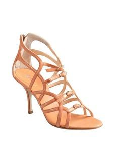 Giuseppe Zanotti peach shimmer suede cutout buckle vamp kitten heel sandals
