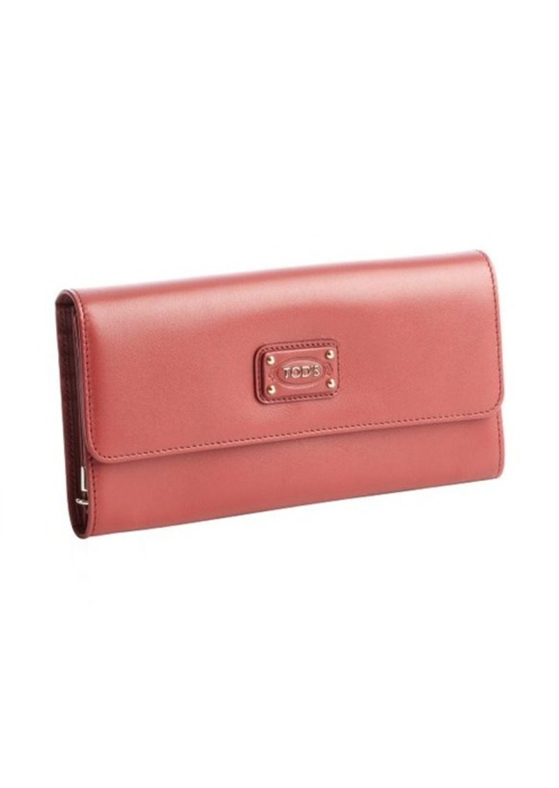 Tod's raspberry calfskin multi-card continental wallet