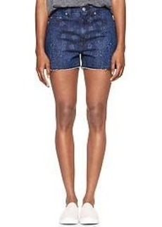 1969 bandana raw-edge high-rise denim shorts