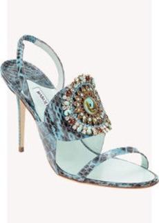 Manolo Blahnik Snakeskin Ronda Jeweled Sandals