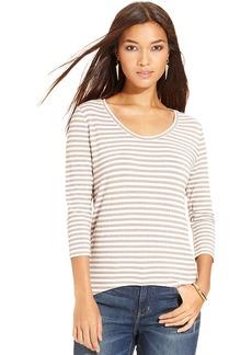 DKNY Jeans Petite Top, Three-Quarter-Sleeve Striped Metallic High-Low Tee