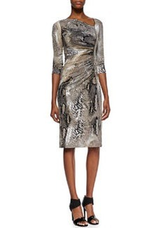 David Meister 3/4-Sleeve Animal-Print Dress