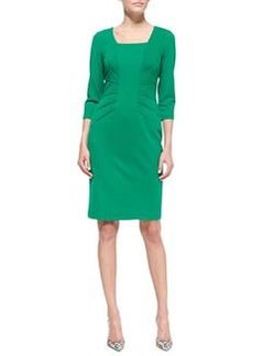 David Meister 3/4-Sleeve Crepe Sheath Dress, Emerald