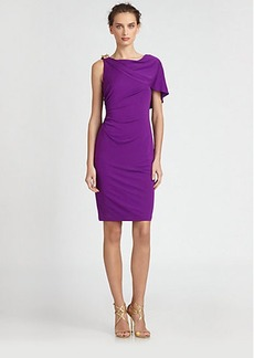 David Meister Asymmetrical Cape Dress