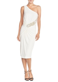 David Meister Asymmetrical Embellished Jersey Midi Dress