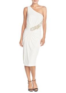 David Meister Asymmetrical Embellished Jersey Midi Dress