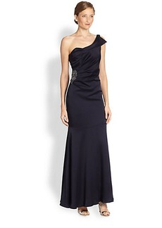 David Meister Asymmetrical Satin Dress
