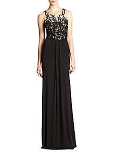 David Meister Beaded-Bodice Jersey Gown