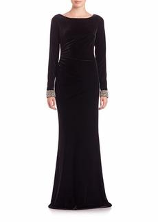 David Meister Beaded-Cuff Velvet Gown