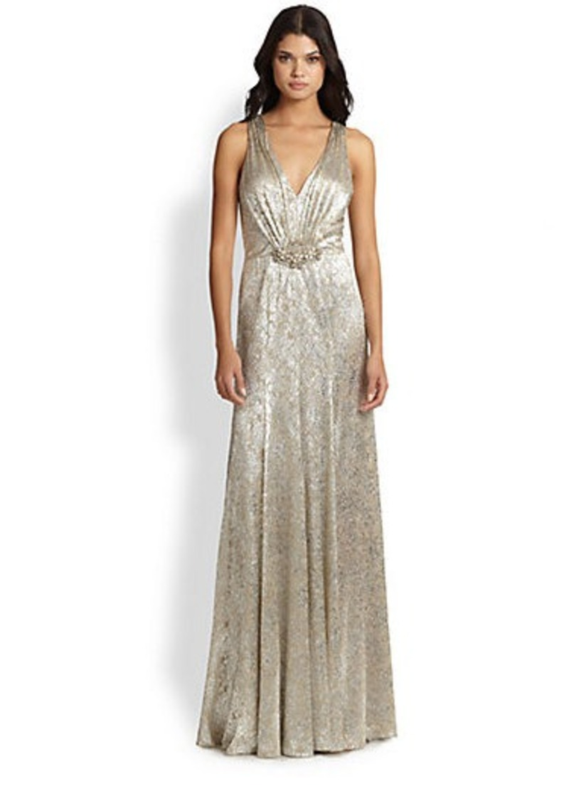 David Meister Beaded Metallic Gown