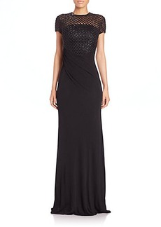 David Meister Beaded Net-Bodice Gown