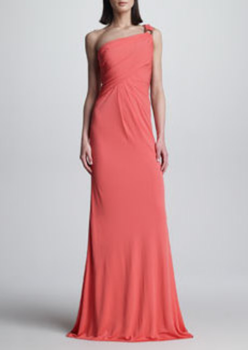 David Meister Beaded One-Shoulder Gown
