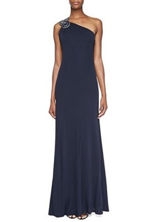 David Meister Beaded-One-Shoulder Gown, Navy