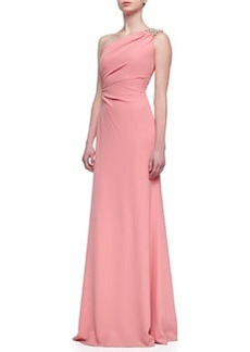 David Meister Beaded One-Shoulder Gown, Sorbet