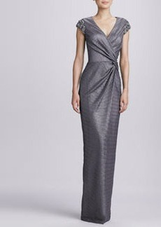 David Meister Beaded-Shoulder Wrap Gown
