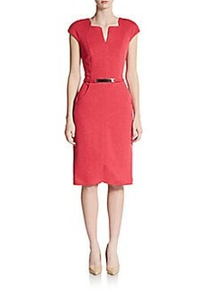 David Meister Belt-Detailed Knit Shift Dress