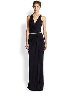 David Meister Belted Cowl-Neck Gown