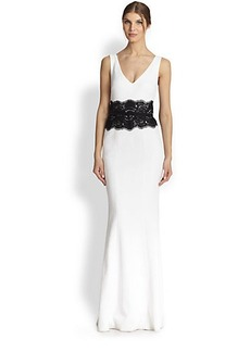 David Meister Belted Lace & Crepe Gown