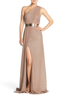 David Meister Belted Metallic Knit Gown