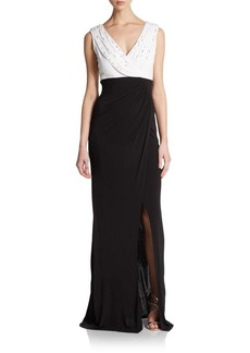 David Meister Bicolor Jersey Cowlneck Gown