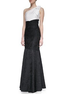 David Meister Bow One-Shoulder Colorblock Gown, Black/White