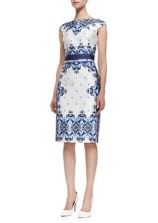 David Meister Cap Sleeve Baroque Print Dress, Blue/White