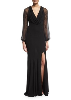David Meister Cap-Sleeve Beaded-Front Godet Gown  Cap-Sleeve Beaded-Front Godet Gown