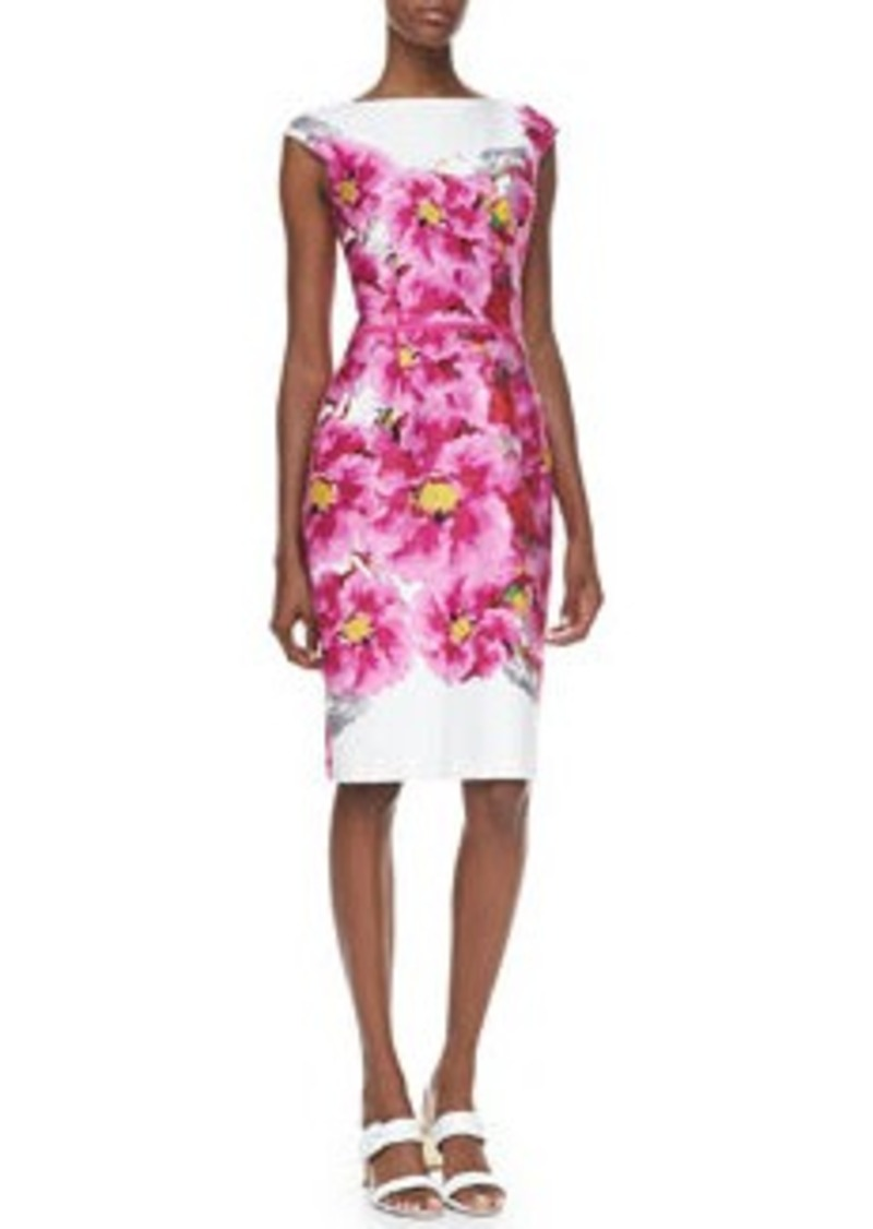 David Meister Cap-Sleeve Floral-Print Dress