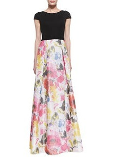 David Meister Cap Sleeve Floral Skirt Gown, Black/Multicolor