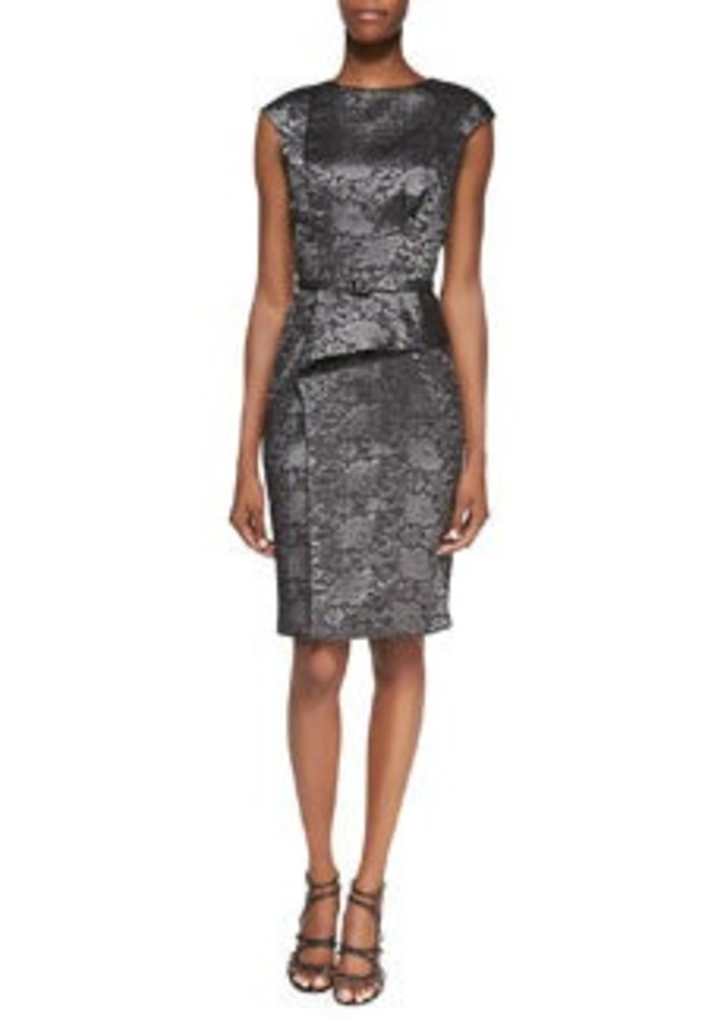 David Meister Cap-Sleeve Peplum Cocktail Dress